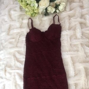 RARE! GUESS BY MARCIANO LACE MAROON DRESS SMALL